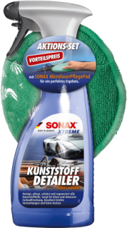 SONAX Aktionsset XTREME Kunststoffdetailer 500ml mit Microfaserpad